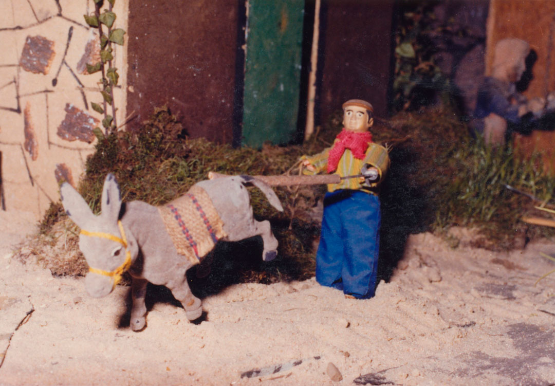 Hombre arreando al burro.