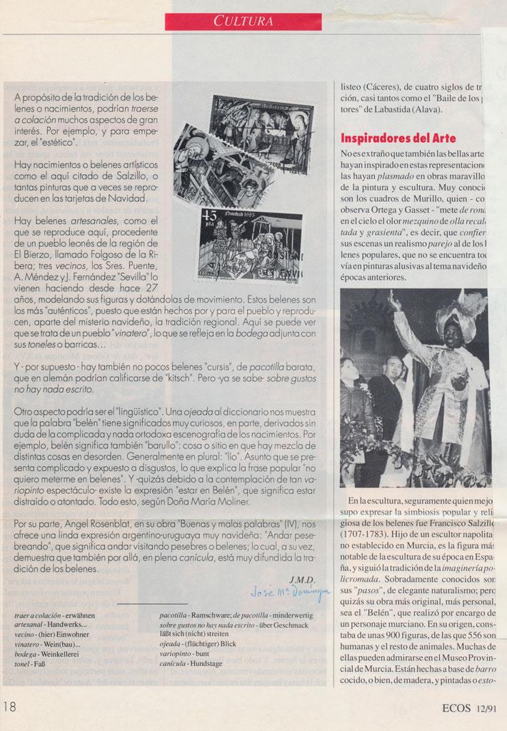 Artículo en revista alemana Ecos de España.