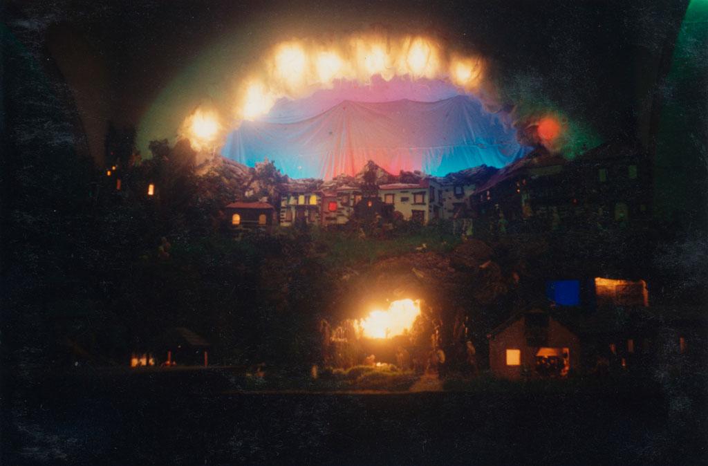 Imagen del Belén con los focos exteriores apagados.