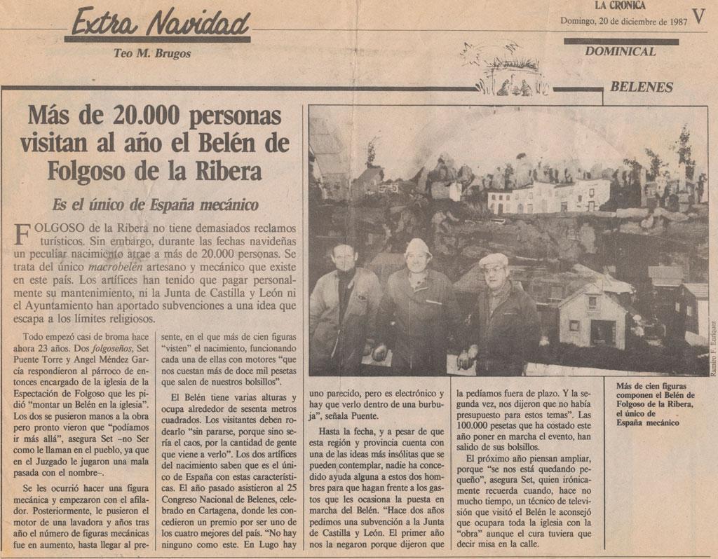 Artículo en La Crónica en 1987.